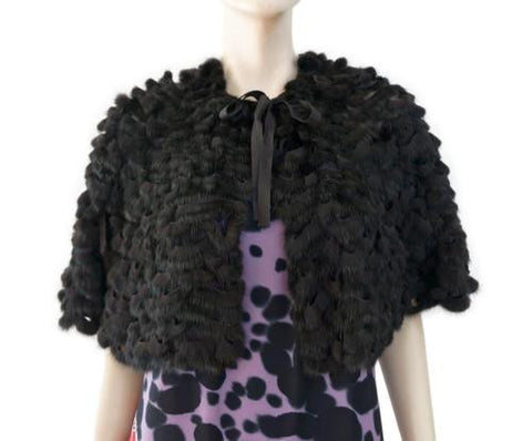 PRADA IT40 Black Mink Jacket 4 Woven Fur Cape NWOT