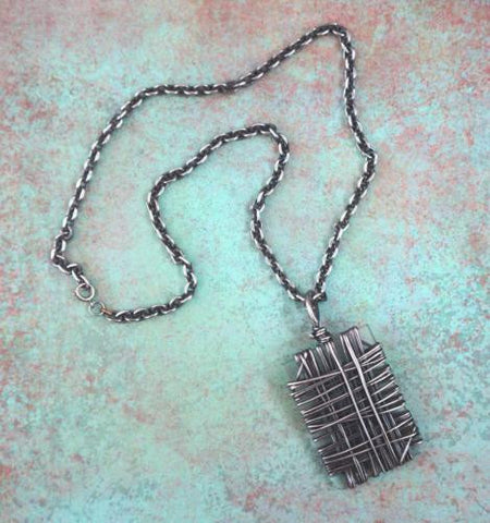 CAGED LUCITE Silver Wire Wrapped Pendant Statement Necklace 24""
