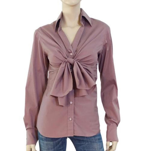 YVES SAINT LAURENT Stretch Cotton Tie-Front Blouse, FR 36 / US 4