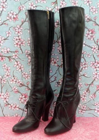 YVES SAINT LAURENT Tie-Front Leather Knee Boots, 37/6.5