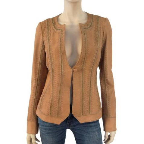 CHINE Leather Stitch-Embellished Jacket, Large