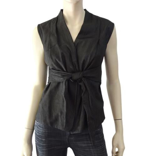 RICK OWENS Tie-Front Leather Wrap Vest, IT 40 / US 4