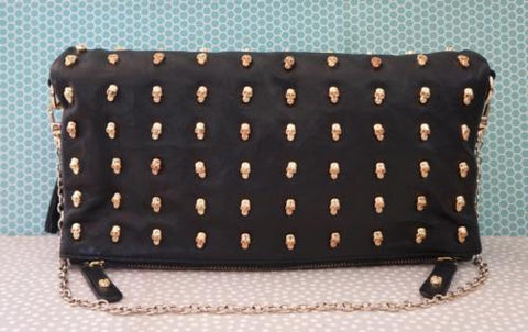 THOMAS WYLDE Skull Studded Convertible Clutch