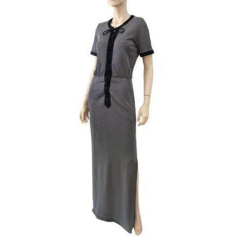 YVES SAINT LAURENT Nautical Navy White Striped Stretch Jersey Maxi Dress 4