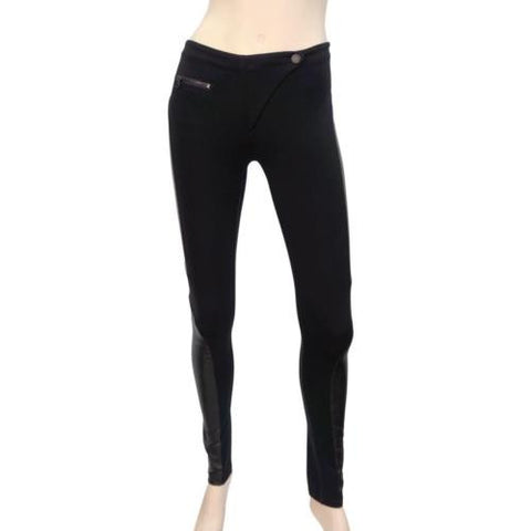 RAG & BONE Black Pants 24 Stretch Leather Side Panel Skinny Leggings