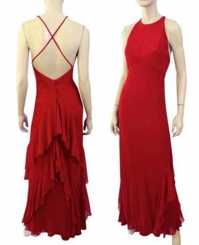 MELINDA ENG Dress Red Silk Open Back Halter Gown and Wrap 4 NEW