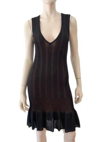 ALAIA Vintage Fluted Hem Sleeveless Dress, Small