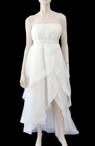 ADAM ADAM LIPPES Strapless Silk Organza High Low Tulip Dress Wedding Gown S