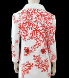 ANDREW GN Printed Coral Cluster Bead Coat, FR 42 / US 8