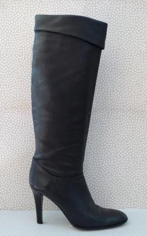 GUNMETAL Cuffed Leather Knee Boots 40.5/10