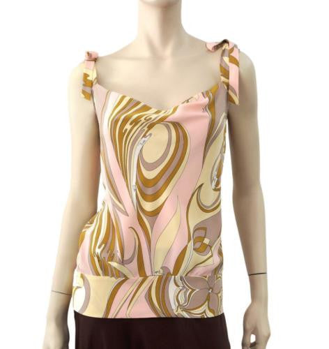 EMILIO PUCCI Abstract Silk 'Tie Shoulder' Top, FR 44 / US 8