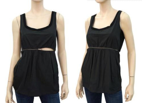 CHLOE Mixed Fabric Exposed-Zipper Top, FR 34 / US 2