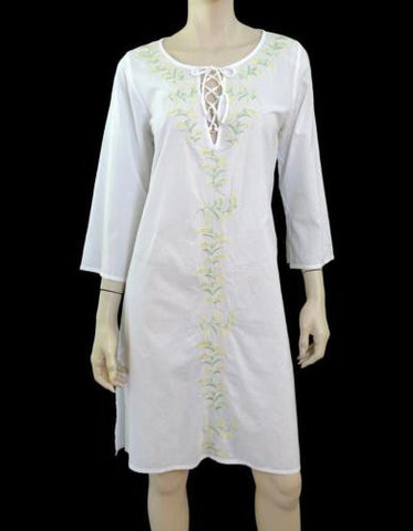 ALLEGRA HICKS White Cotton Swim Cover-Up Tunic Dress UK12 US 8