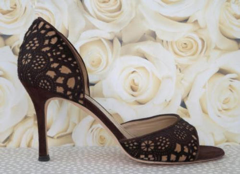 MANOLO BLAHNIK Pony Hair Laser Cut Heels Pumps 39.5/9