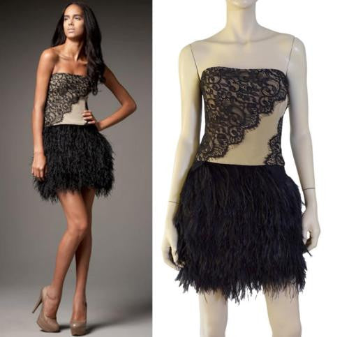 HAUTE HIPPIE Ostrich Feather & Lace Dress w/Tags, Medium