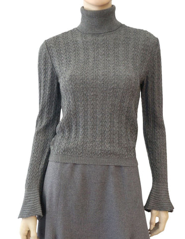 VALENTINO Gray Cable Knit Wool Cashmere Bell Sleeve Sweater M