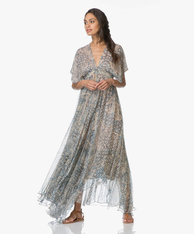 MES DEMOISELLES Fives Printed Crepe Chiffon Maxi Dress FR36 US 4