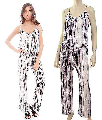 FELICITE White Purple Black Printed Stretch Jersey Romper Jumpsuit M NEW
