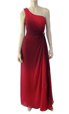 MELINDA ENG Dress Raspberry Red Silk One-Shoulder Evening Gown 10 $2420 TAGS