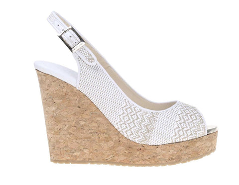 JIMMY CHOO 41.5 White Beige Prova Woven Cork Wedges Slingbacks 11 NEW