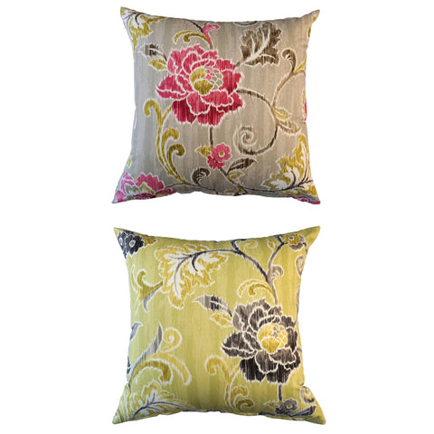 THE WELL DRESSED BED Biarritz Floral Cotton Sateen Accent Pillow 21x21 w INSERT