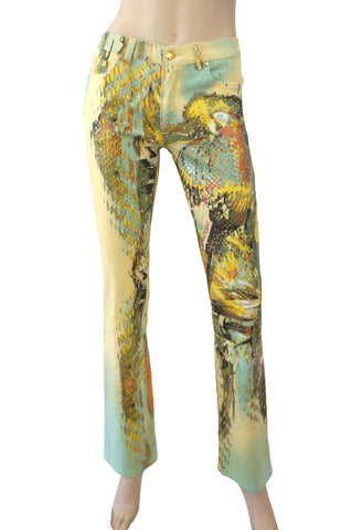 ROBERTO CAVALLI Women's Jeans S Yellow Green Blue Parrot Print Stretch Cotton