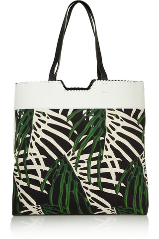 PROENZA SCHOULER Paper Bag Leather Paneled Tropical Canvas Printed Tote NEW