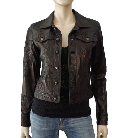 CHROME HEARTS Cross Applique Black Leather Jacket S NEW