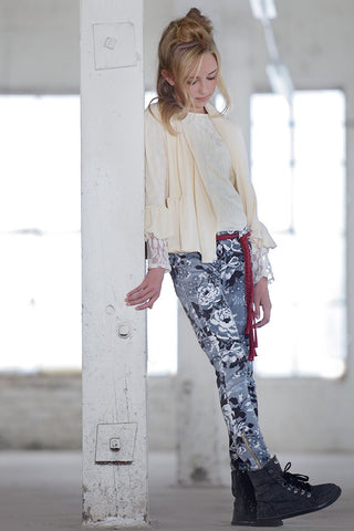 PERSNICKETY Veronika Gray Floral Stretch Cotton Velvet Skinny Jeans Pants 10 NEW