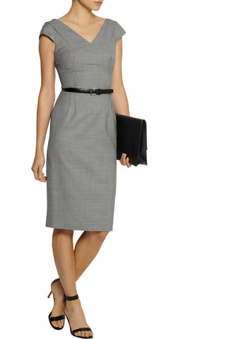 MICHAEL KORS COLLECTION Belted Houndstooth Stretch Wool Dress 12