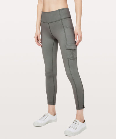 LULULEMON Scenic Route Sage Gray 25 inch Cargo Pocket Leggings 4