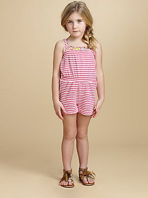 OSCAR DE LA RENTA Girls 8 Terry Cloth Striped Pink White Jumpsuit Romper NEW