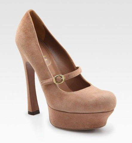 YVES SAINT LAURENT 39.5 Nude Suede Palais Mary Jane Pumps Heels 9
