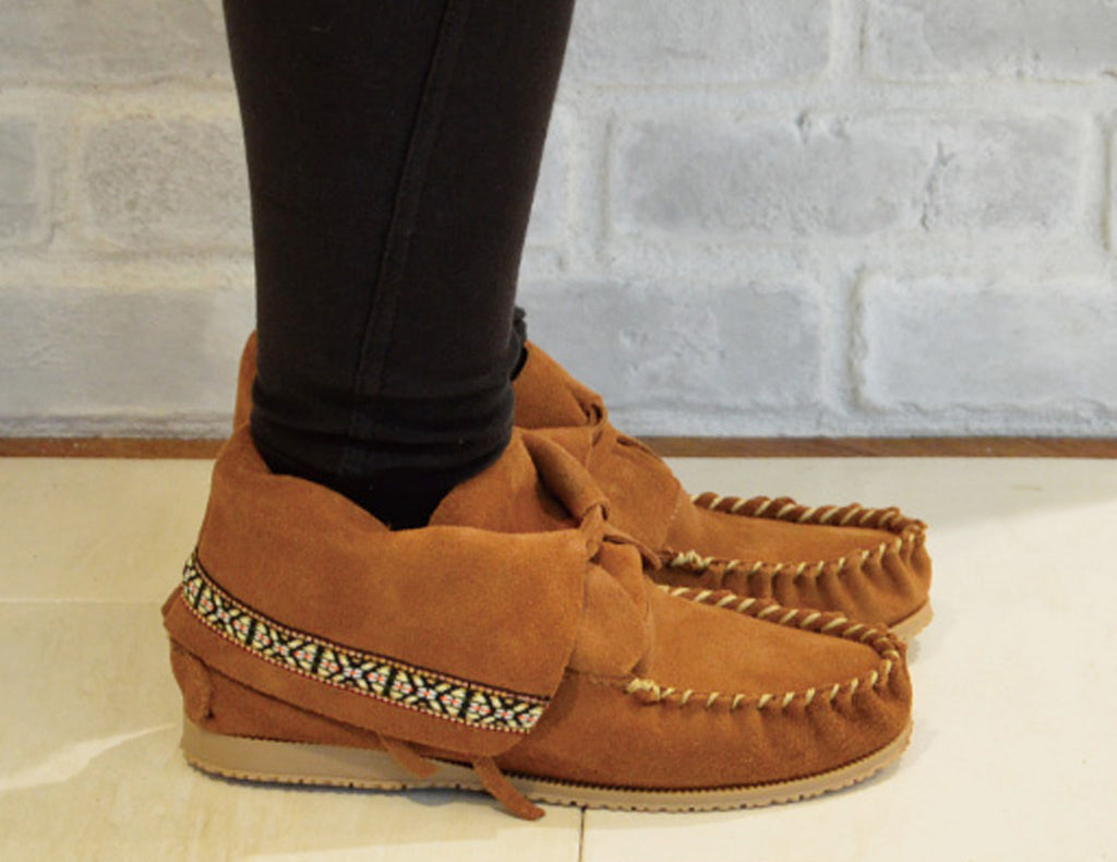 AMIMOC 9 Camel Brown Suede Native American Moccasins Ankle Boots