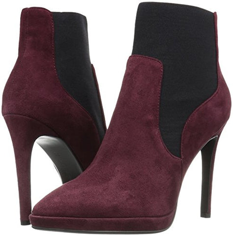 LOLA CRUZ 37 Burgundy Red Suede Cameron Ankle Boot Booties 7 NEW