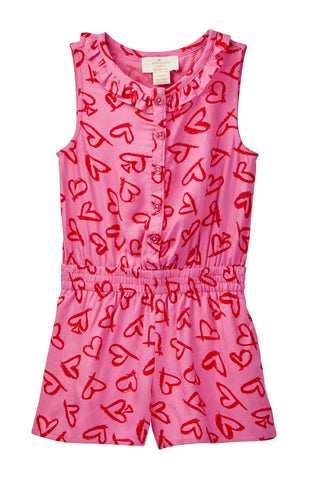 KATE SPADE NEW YORK Sleeveless Pink Heart Print Romper 12