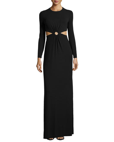 MICHAEL KORS COLLECTION Gown Black Long Sleeve Jersey Cutout Maxi Dress 8 NEW