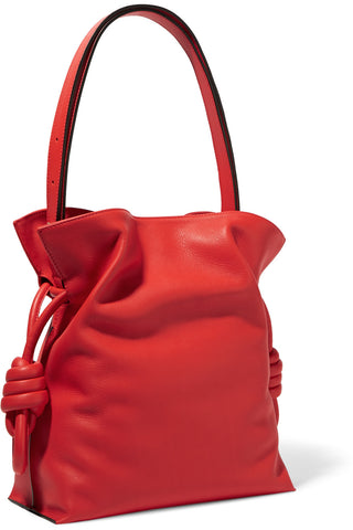 LOEWE Flamenco Small Knot Red Leather Shoulder Bag NEW $1950
