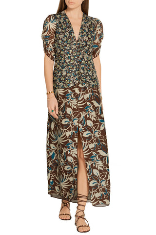 ANNA SUI Brown Floral Silk Maxi Dress, Sz 2