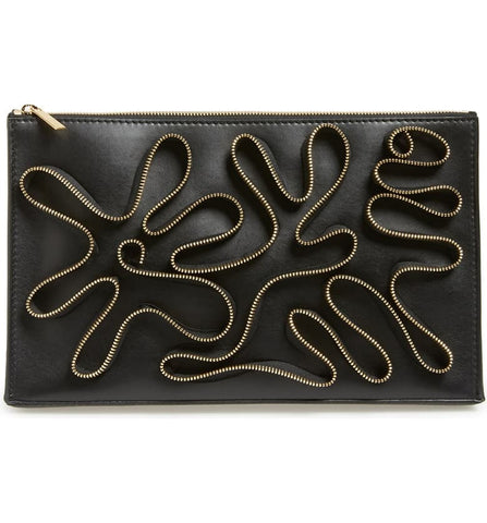 STELLA MCCARTNEY Cavendish Black Faux-Napa Zipper Embroidery Clutch Bag