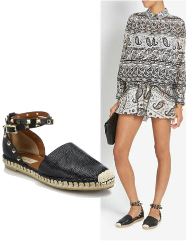 VALENTINO 39 Black Leather Rockstud Espadrille Flats 9