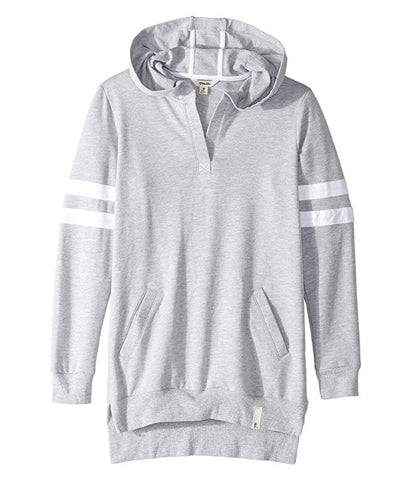 MADDIE Girls Medium Hooded Gray Cotton Jersey Varsity Sweatshirt Dress Size 8 10
