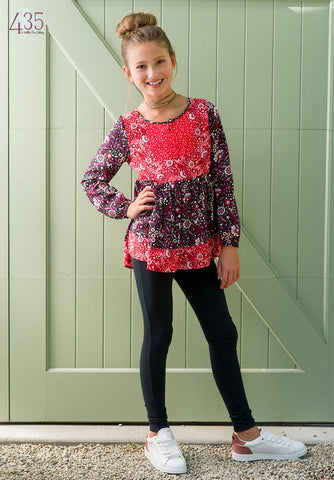 MATILDA JANE 435 Girls 12  Red and Purple Floral By the Fireside Peasant Top