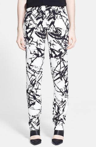 A.L.C. William Black White Abstract Stroke Print Silk Pants 0