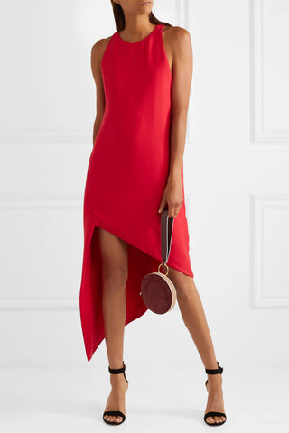 IRO Hamlin Sleeveless Asymmetric Red Crepe Dress 36 US 4