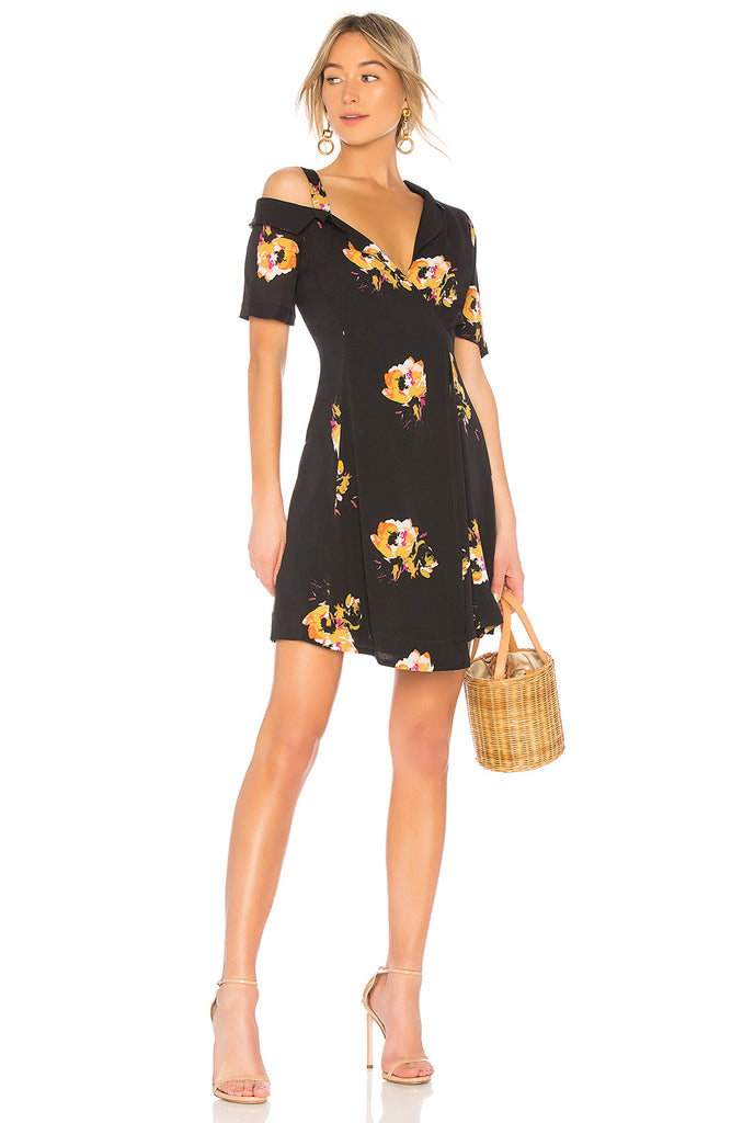 A.L.C. Lucia Off Shoulder Black Floral Silk Mini Dress 2 NEW WITH TAGS