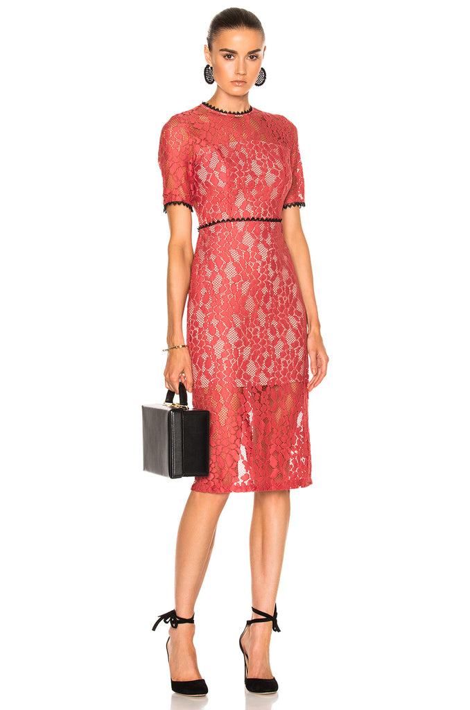 ALEXIS Remi Salmon Lace Cutout Short Sleeve Midi Dress S NEW WITH TAGS