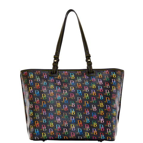 DOONEY & BOURKE Large Black Logo Printed Leisure Shopper Tote NWT