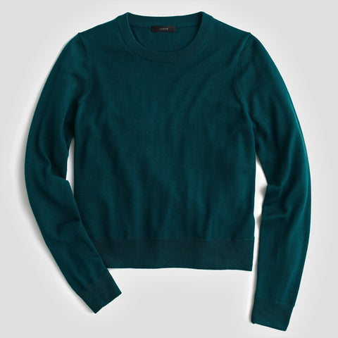 J CREW Teal Green Merino Wool Crew Neck Pullover Sweater XL NEW WITH TAGS