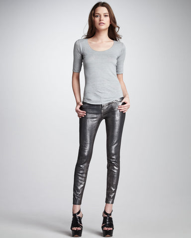 CURRENT/ELLIOTT The Stiletto Silver Coated Foil Jeans 25 BRAND NEW WITH TAGS